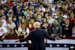 Republican presidential candidate Donald Trump speaks at a rally at Valdosta State University in Valdosta, Ga., Monday, Feb. 29, 2016.
