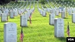 Makam yang ditandai dengan nisan batu granit jamak ditemukan di Amerika, seperti yang terlihat di Taman Makam Pahlawan Arlington di negara bagian Virginia ini.