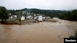 FILE - A general view of the Ahr river and flood-affected area, following heavy rainfalls in Schuld, Germany, July 15, 2021