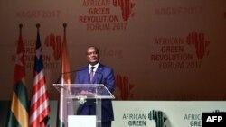 FILE - Prime Minister of Togo Komi Selom Klassou speaks during the opening of the international African Green Revolution Forum in Abidjan, Sept. 6, 2017.