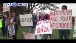 Những nhà hoạt động biểu tình ủng hộ 2 bên trong cuộc chiến ở Dải Gaza