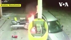 Lùi xe đổ cây xăng gây hoả hoạn