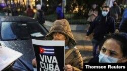 Miles de exiliados cubanos se han solidarizado en países de América Latina, Europa y en Estados Unidos con las protestas en Cuba. Foto de marcha en Argentina, el 14 de julio de 2021.