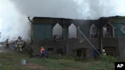 Тушение пожара в психиатрической больнице в деревне Луки под Новгородом. 13 сентября 2013г.