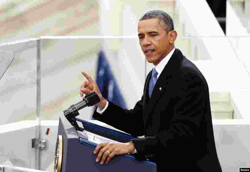U.S. President Barack Obama speaks during swearing-in ceremonies on the West front of the U.S Capitol in Washington, January 21, 2013