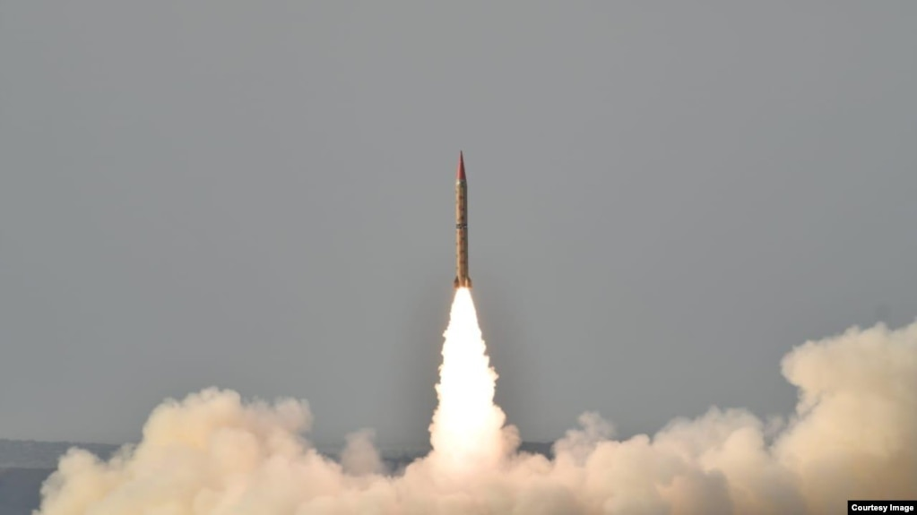 Shaheen II, surface-to-surface ballistic missile, according to Pakistan capable of delivering conventional and nuclear weapons at a range of up to 1,500 kilometers, during a training launch in this photo released by Inter Services Public Relations, May 23, 2019.