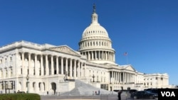 美國國會眾議院一側的主樓大廈。(美國之音記者李逸華拍攝)