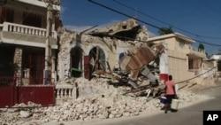 Old colonial-style buildings in Jacmel, Haiti sustained heavy damage, 25 Jan 2010