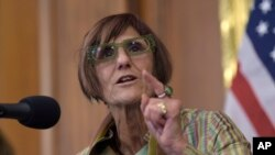 FILE - Rep. Rosa DeLauro, D-N.Y., speaks during a news conference on Capitol Hill in Washington. This is the third time the Family Act has been proposed in Congress since 2013, according to DeLauro's office.