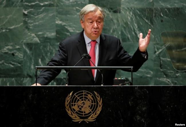Sekjen PBB Antonio Guterres memberikan pidato di Majelis Umum PBB ke-76 di New York (21/9).