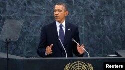 Tổng thống Hoa Kỳ Barack Obama phát biểu trước các nhà lãnh đạo thế giới tại phiên họp của Đại hội đồng Liên hiệp quốc, ngày 24/9/2013.