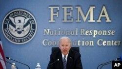 Predsednik Joe Biden učestvuje u brifingu za medije pred predstojeću sezonu uragana na Atantiku, u sjedištu FEMA, 24. maja 2021.