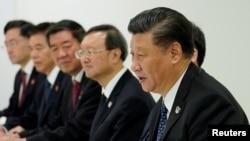 2019年6月29日,在G20領導人日本大阪峰會期間,中國國家主席習近平在同美國總統特朗普舉行雙邊會晤時講話。