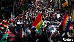 Bolivia supporters Evo Morales