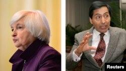 La secretaria del Tesoro de Estados Unidos,Janet L. Yellen, yel secretario de Hacienda de México, Rogelio Ramírez de la O. [Fotos: Reuters - Montaje: VOA]