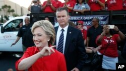 Democratic presidential candidate Hillary Rodham Clinton attends a rally, Oct. 12, 2015, in Las Vegas, held by the Culinary Union to support a union drive at the Trump Hotel.