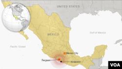 멕시코 지진 발생 지역.