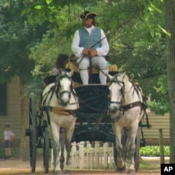 Horses and carriage in Colonial Williamsburg