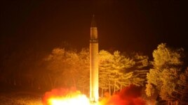 A Hwasong-14 intercontinental ballistic missile is pictured during its second test-fire in this undated picture provided by KCNA in Pyongyang, North Korea, July 29, 2017.