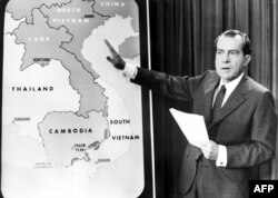 U.S. President Richard Nixon in the White House after his announcement to the nation on April 30, 1970, that American ground troops had attacked, at his order, a communist complex in Cambodia. Nixon pointed to the area of Vietnam and Cambodia in which he said the action took place. (AP photo)