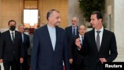 29 Ağustos 2021 - Şam'ı ziyaret eden İran Dışişleri Bakanı Hüseyim Emir Abdullahiyan Suriye lideri Beşar Esat'la birlikte