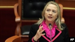 U.S. Secretary of State Hillary Rodham Clinton speaks to the Albanian Parliament in Tirana, November 1, 2012.