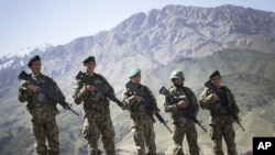 Quân đội Quốc gia Afghanistan tại tiền đồn Chinari trong tỉnh Logar, phía đông Afghanistan