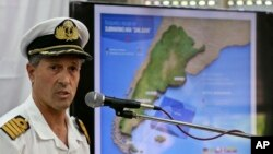 Navy spokesman Enrique Balbi talks during a press conference at Navy headquarters in Buenos Aires, Argentina, Nov. 28, 2017.