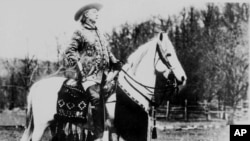 "Colonel William F. Cody, ""Buffalo Bill"", is shown in this undated photo sitting on top of his Arabian stallion ""Muson"". (AP Photo)"