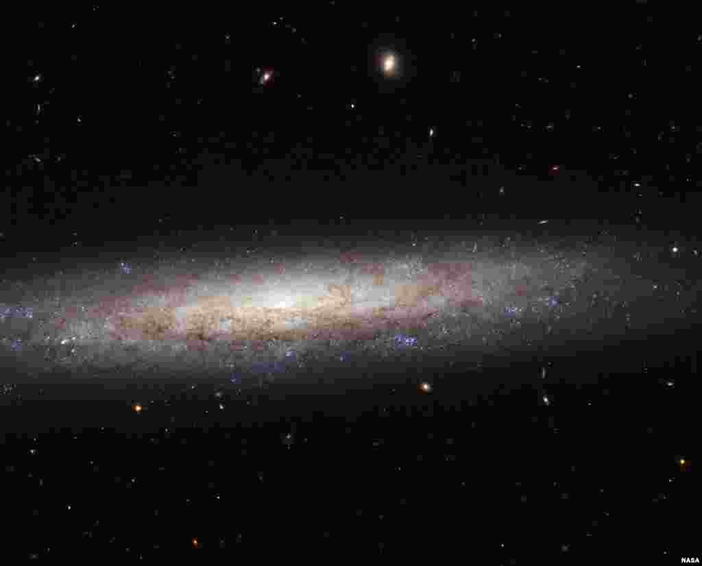 This magnificent new image taken with the NASA/ESA Hubble Space Telescope shows the edge-on spiral galaxy NGC 4206, located about 70 million light-years away from Earth in the constellation of Virgo.