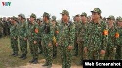 Lực lượng quân sự của Việt Nam tại cuộc diễn tập cứu hộ - cứu nạn hôm 18/12/2019 với phía Campuchia. Photo VOV.