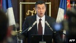 Guverner Narodne banke Srbije Dejan Šoškić se obraća novinarima na današnjoj konferenciji.