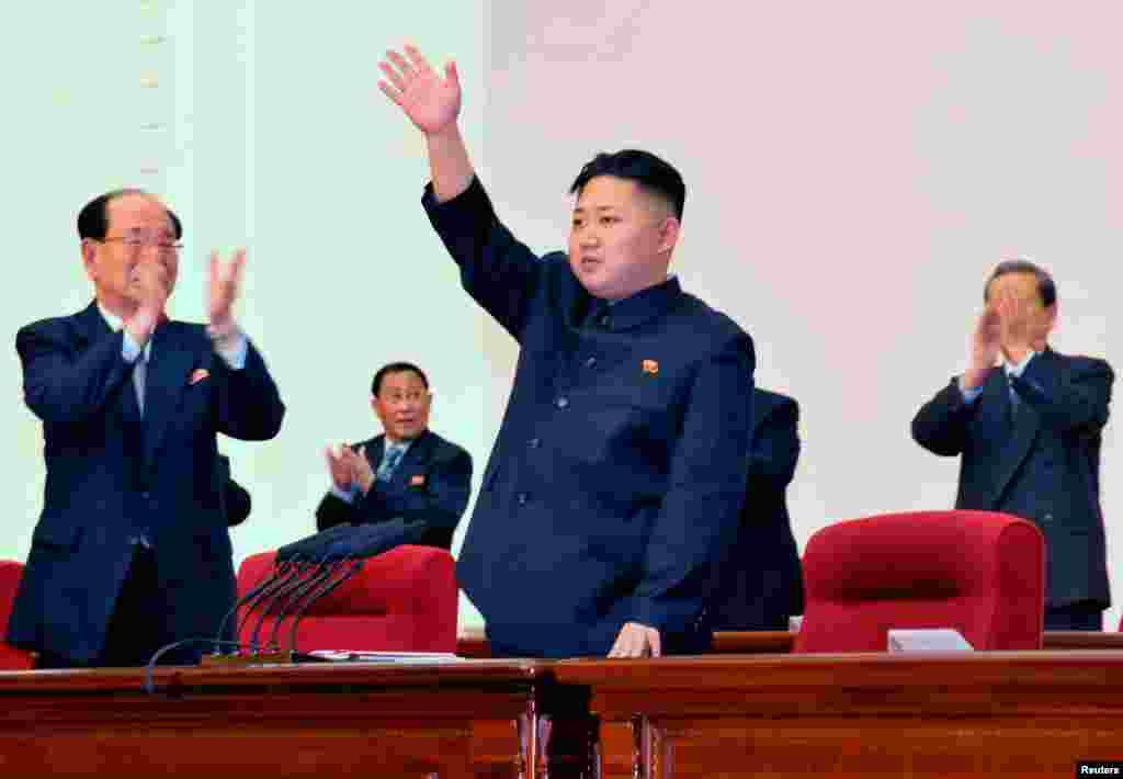 April 11: North Korean leader Kim Jong Un waves during the Fourth Conference of the Workers' Party of Korea (WPK) in Pyongyang.