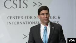 마크 에스퍼 미국 국방장관이 24일 워싱턴 전략국제문제연구소(CSIS)에서 열린 안보 토론회에 참석했다.