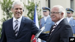 Czech Republic's President Vaclav Klaus (R) and his Serbian counterpart Boris Tadic smile as they attend a news conference at Lany Chateau in Lany, August 29, 2011