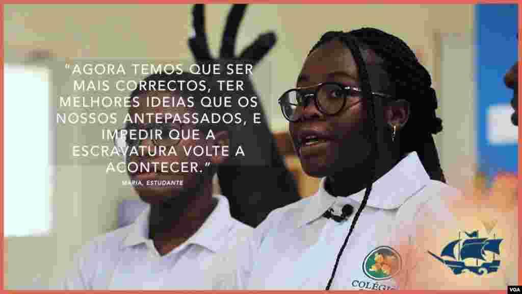 Citação sobre escravatura de estudante angolana