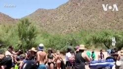 亚利桑那民众聚集河边享受清凉