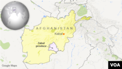 Map showing Zabul province, Afghanistan