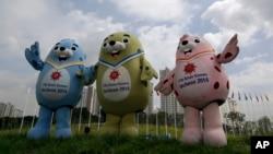 Tiga maskot resmi pesta olahraga Asian Games 2014 di Incheon, Korea Selatan yang akan berlangsung mulai 19 September mendatang (foto: dok).