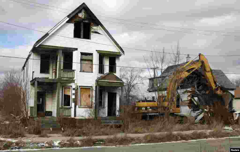Vacant and blighted homes in an eastside neighborhood of Detroit, Michigan.