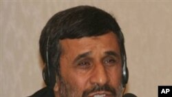 Iranian President Mahmoud Ahmadinejad speaks at a news conference after a Caspian Sea summit in Baku, Azerbaijan on Thursday, Nov 18, 2010. Ahmadinejad said Thursday that embargoes are ineffectual and the West should drop its aggressive approach if talks