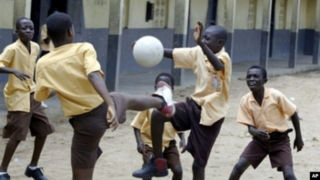 Liberian children play at Buduburam camp, East of Accra, Ghana (2005 file photo)