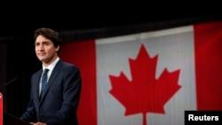 加拿大總理杜魯多10月22日在加拿大魁北克的一次記者會上講話。