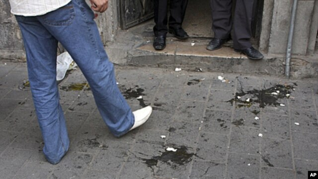 Eggs thrown by supporters of Syrian President Bashar Assad against the US Ambassador, Robert Ford when he entered the office of an opposition member Hassan Abdul-Azim, in Damascus, Syria,  are seen on ground, September 29, 2011.