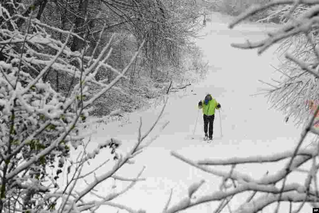 Marilyn Newton uses her cross-country skis as she travels through the snow in Charlotte, North Carolina, Feb. 13, 2014 after a winter storm hit the area.