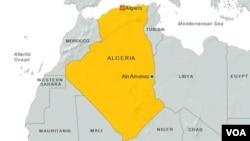 Газовое месторождение «Аин-Аменас», Алжир (отмечено синим)