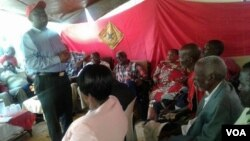 Morgan Tsvangirai addressing some of his supporters during his nationwide tour.