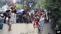 El video desató furiosas protestas antiestadounidenses en países musulmanes, como ésta en El Cairo.