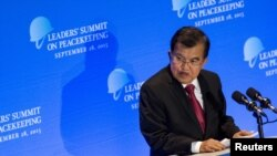 Wakil Presiden Jusuf Kalla menyampaikan pidatonya dalam KTT yang membahas operasi Penjaga Perdamaian PBB.