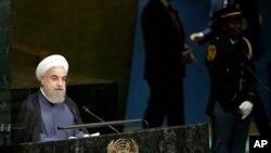 Presiden Iran Hassan Rouhani menyampaikan pidato pada Sidang Majelis Umum PBB, Senin, 28 September 2015, di New York.